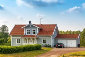 flyttstäda garage på villa med plats för två bilar
