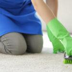 en kvinna rengör matta med borste