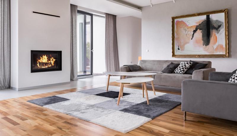 vardagsrum med vacker matta